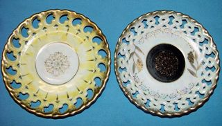 ROYAL SEALY CHINA JAPAN CUT OUT OPALESCENT PLATES 6 DIAMETER NO