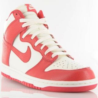 Mens Nike Dunk High Sail White Action Red 317982 122