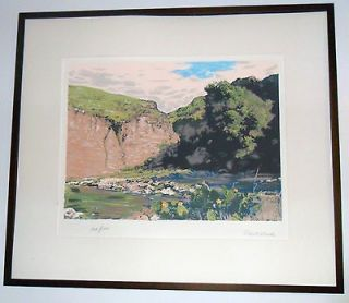 Robert Wood orginal framed lithograph print Landscape signed, lmt. ed