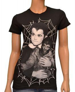 Eddie Munsters Wolf Wolf Black Womens T shirt By Rock Rebel