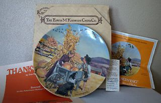 Edwin Knowles Thanksgiving Limited Edition Autumn Pumpkin Plate 1979