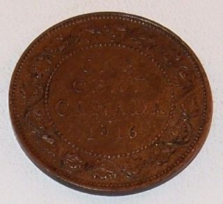 1916 Canada Canadian PENNY 1 one CENT LARGE cent COIN