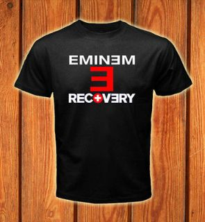 Eminem Rock Band   Recovery Album Logos Black T shirt size S 2XL