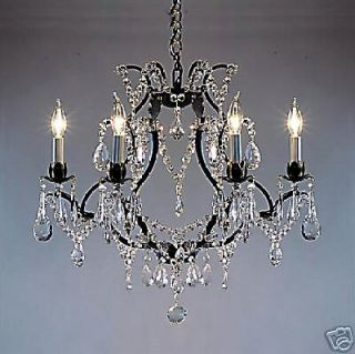 LIGHT CRYSTAL AND BLACK WROUGHT IRON CHANDELIER