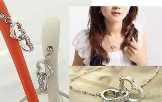 Hot Selling Elegant Swarovski Crystal Heart Dangle Earring necklace U