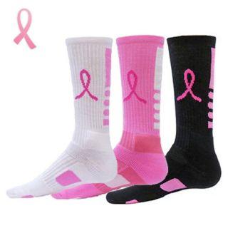Elite Socks   Breast Cancer Awareness   Elite Pink Ribbon Crew Socks