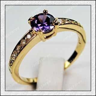 Jewellery New amethyst ladys Yellow Gold Filled Ring Size7/8/9/10 For