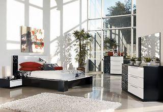 ELMER MODERN 5pcs GLOSSY BLACK & WHITE QUEEN KING PLATFORM BEDROOM SET
