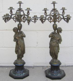 Barbedienne Pair Bronze French Figurine Candleabras