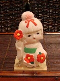 Vivid 5.25 Hakata Ceramic Japanese Geisha Girl Doll with Red Flowers
