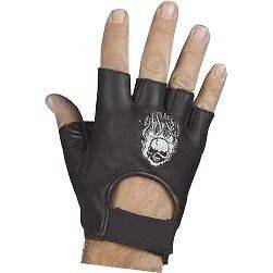 LEATHER GLOVES SKELETON STYLE FINGERLESS MOTORCYCLE RIDING LARGE SIZE