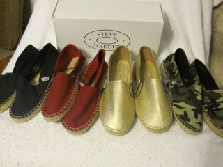 Womens Mylie Espadrilles Flats By Steve Madden Gold, Red, Camo, or