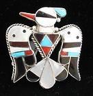 Zuni Indian Pendant Pin Thunderbird Multistone Inlay Sterling Silver
