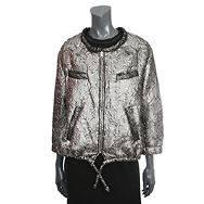 22749 auth ISABEL MARANT metallic silver wool & silk Jacket 2 M