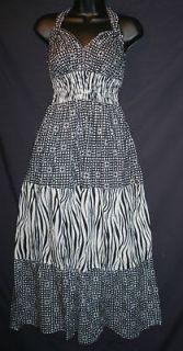 NEW Sexy Exotic Black White Zebra Print & Polka Dots Empire MAXI Dress