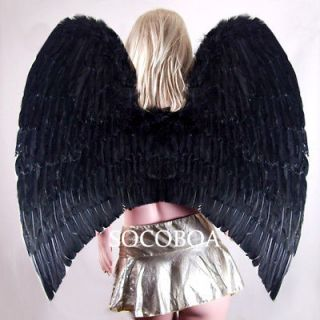 SUPER LARGE Black Feather Angel Wings Halloween costume cosplay gothic