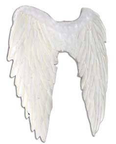 White Real Feather Angel Wings Fancy Dress Costume Outfit Large