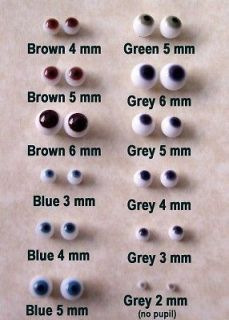 Glass Eyes for OOAK Polymer Clay Doll Fairy Baby 5 mm Blue Gray