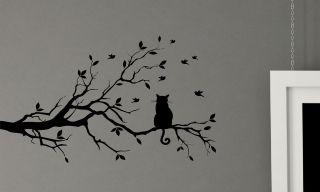 CATS TREE BRANCH BIRDS WALL DECALS STICKER VINYL GRAPHICS MURAL HOME