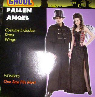 Fallen Angel Adult Black Dress Costume Wngs NIP