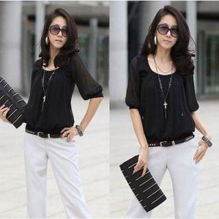 Fashion Korean Womens Chiffon black Casual Blouse size S N362 G