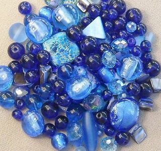 160+ Royal & Cobalt Blue Glass Bead Mix 4mm to 16mm **low s/h fee //