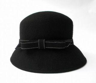 Cute Bow Black Felt Wool Hat Formal Wedding Church Woman Vintage
