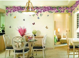 kQ Butterfly Fence flower sticker wall Decal Removable Art Vinyl Decor