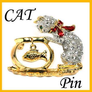 Sparkling Crystals Kitty Cat & Fish Pin Brooch