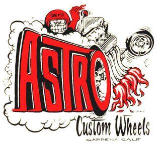 Astro Custom Wheels Vintage Hot Rat Rod Drag Racing Decal Sticker