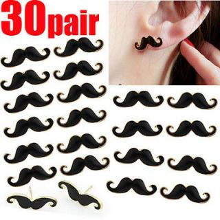 Fashion 30Pair Vintage Punk Style Mustache Beard Earrings Christmas