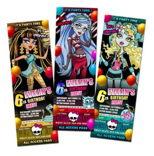 MONSTER HIGH BIRTHDAY PARTY INVITATION TICKET 1ST   c3   personalized