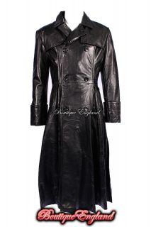Mens Black FULL LENGTH Laurence Fishburne MATRIX Leather Jacket Coat