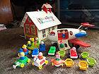 LOT OF VINTAGE FISHER PRICE TOYS PEOPLE HOUSE SCHOOL HOUSE BUS TRAINS