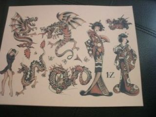 20 Sheets of Sailor Jerry Tattoo Flash Pinup Girls, Eagles, Roses