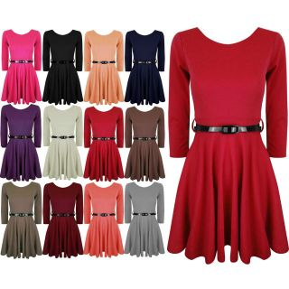 Womens Skater Dress Belted 3/4 Sleeves Short MINI Party Dresses Top 8