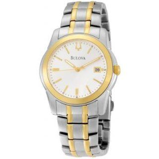 Bulova 98H18 Mens Watch Two Tone Stainless Steel Silver Tone Dial