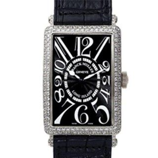 Franck Muller Mens Long Island White Gold Diamond Black Leather Watch