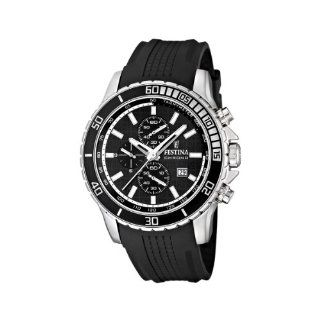 Festina Mens Stainless Steel Rubber Strap Black Dial Chronograph