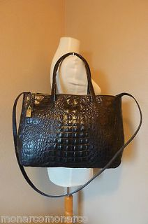 NEW FURLA Onyx/Black Croco Embossed Leather Large Urban Tote Bag $548
