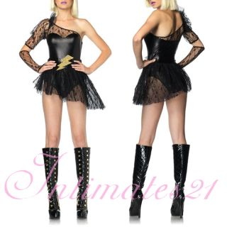 Sexy Lady Gaga Costume Blk One Shoulrder Mini Dress Clubwear Rave