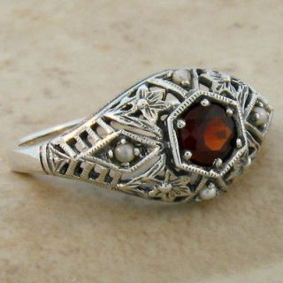 ANTIQUE STYLE NATURAL GARNET SEED PEARL .925 SILVER FILIGREE RING SIZE