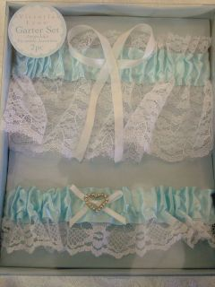 New Blue Satin and White Lace Heart Wedding Garter belt
