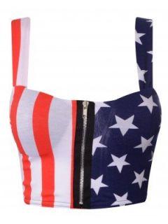 US Flag Print Zip Front Padded Bralet Crop Top  Clothing