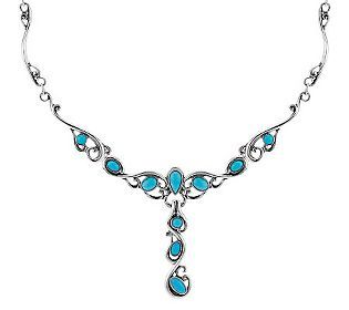 Carolyn Pollack Sleeping Beauty Turquoise Sterling Neckla & Enhancer