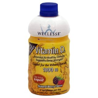 Wellesse Vitamin D3 1000 IU Natural Berry Flavor, Fast Acting Liquid