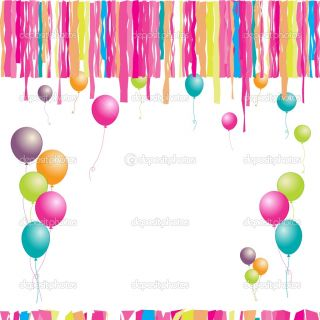 Happy birthday! Balloons and confetti. I  Vector Stock © Kudryashka