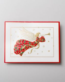 Caspari 50 Angel Embossed Christmas Cards   The Horchow Collection