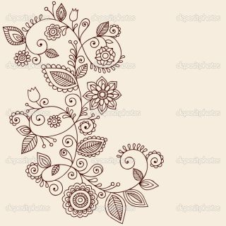 Henna Tattoo Paisley Flowers and Vines Doodles Vector  Stock Vector