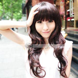 Wholesale MAYSU Women Long Curl Straight Bang Hair Wig